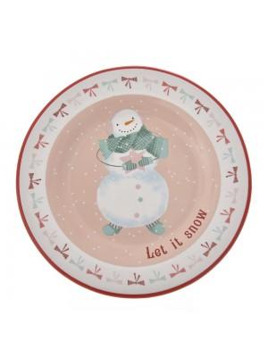 CHRISTMAS CERAMIC PLATE 20CM SNOWMAN DESIGN