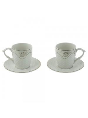 Две чаши с чинийки 220мл Златист кант Листо
