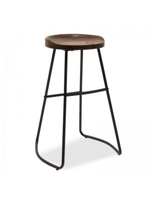 Бар стол Jail черен метален седалка цвят орех