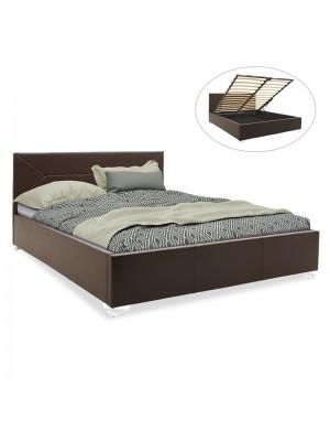 Спалня с ракла Smooth тъмно кафява кожа мат 160x200cm