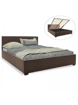 Спалня с ракла Norse тъмно кафява кожа мат 160x200cm