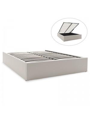 Двойно легло с ракла Tiger бяла кожа мат 150x200cm
