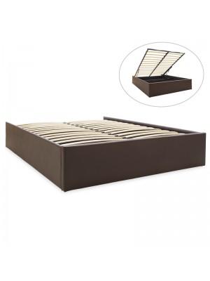Двойно легло с ракла Tiger тъмно кафява кожа мат 150x200cm