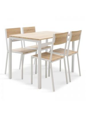 Комплект маса с 4 стола Montreal цвят сонома/бял мат