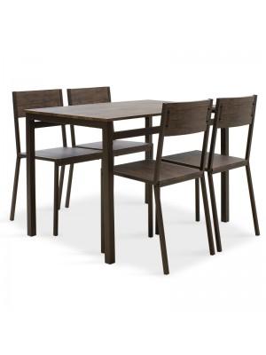 Комплект маса с 4 стола Montreal цвят орех/ тъмен мат