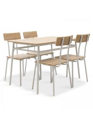 Комплект маса с 4 стола Rubio в бяло и сонома