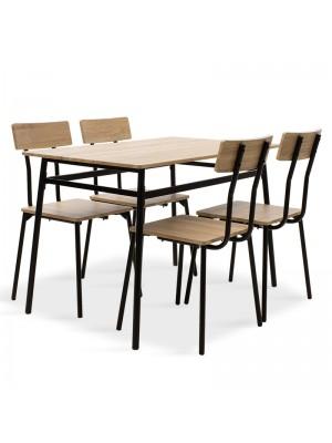 Комплект маса с 4 стола Rubio в черно и сонома