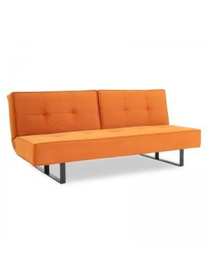 Триместен разтегателен диван Fella кадифе оранжево-черни крака 192x89x77см