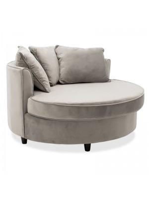 Кръгло кресло-диван Ophelia със сива плюшена дамаска123x120x85cm