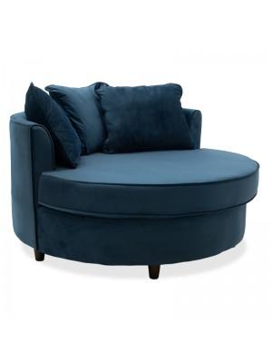Кръгло кресло-диван Ophelia стъмно синя плюшена дамаска123x120x85cm