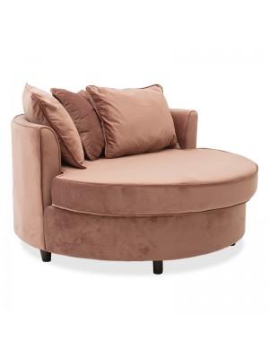 Кръгло кресло-диван Ophelia с дамаска цвят пепел от рози 123x120x85cm