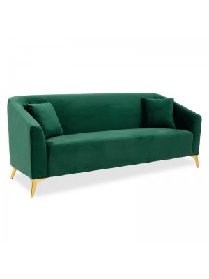 Триместен диван Pax с тъмно зелена плюшена дамаска 199x77x82cm