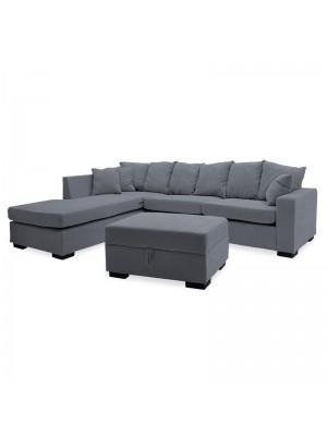 Ъглов диван с табуретка Dean и тъмно сива дамаска 257x207x83cm