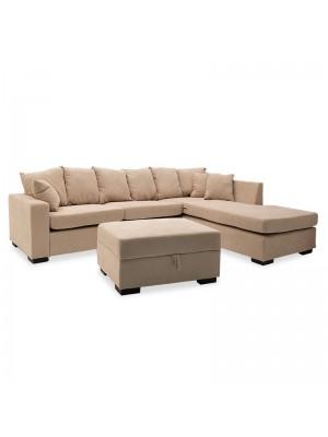 Ъглов диван с табуретка Dean и бежова дамаска 257x207x83cm