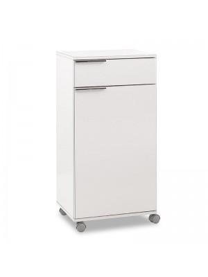 Мобилен шкаф за баня бял гланц 50x40x100cm