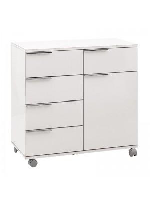 Мобилен шкаф за баня бял гланц 84x44x81cm