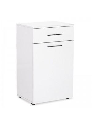 Многофункционален шкаф Chad с кош за пране бял гланц 52x38x83cm