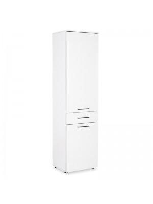 Многофункционален шкаф Chad с кош за пране бял гланц 52х32х187см