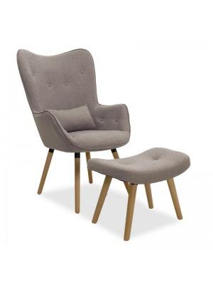 Кресло с табуретка Pearl сиво-бежова дамаска