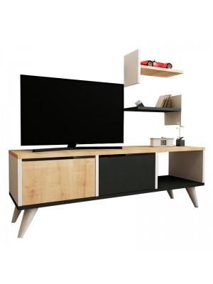 Тв шкаф Foxy цвят бял/натурален/антрацит 120x30x40 cm