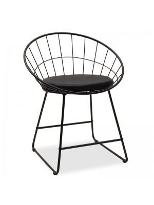 Черен метален стол Seth с черна седалка