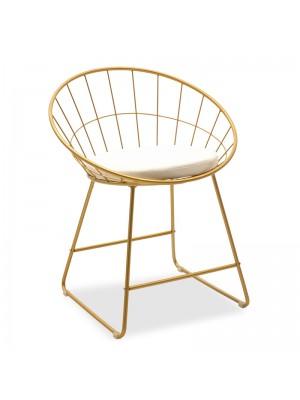 Златен метален бар стол Seth с бяла седалка