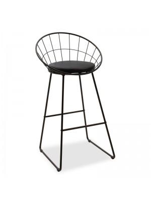 Черен бар стол Seth с черна седалка