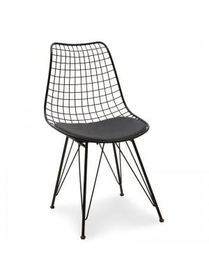 Черен метален стол Taj с черна седалка