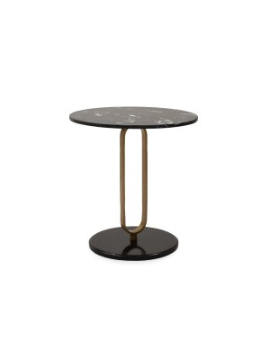 МАСА ЗА КАФЕ Trevor с мраморен ефект в черно и златно D50x54,5cm