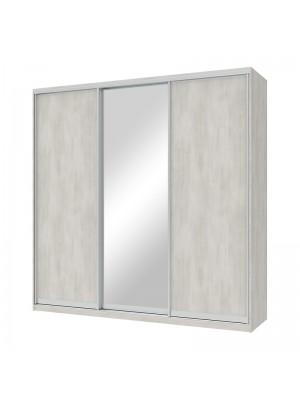 Гардероб Pallas с 3 слайд врати с огледало бяло-сив цвят 225x60x225cm