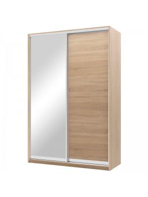 Гардероб Pallas с 2 слайд врати с огледало цвят сонома 150x60x225cm