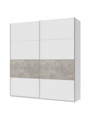 Гардероб Milva с 2 слайд врати в цвят white-charcoal 225x60x240cm