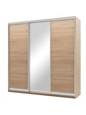 Гардероб Pallas с 3 слайд врати с огледало цвят сонома 225x60x225cm