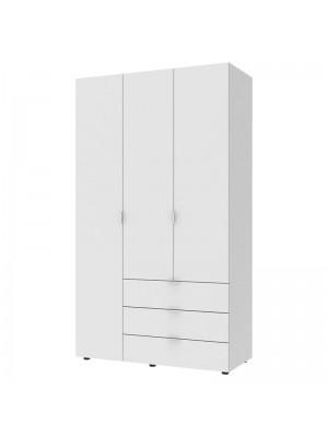 Трикрилен гардероб Gelar с чекмеджета бял  116x49,5x203,5cm