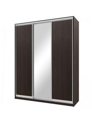 Гардероб Nefeli с 3 слайд врати и огледало цвят венге 180x60x225cm