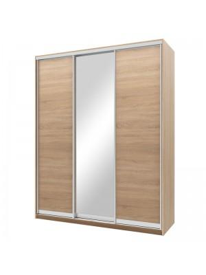 Гардероб Nefeli с 3 слайд врати и огледало цвят сонома 180x60x225cm