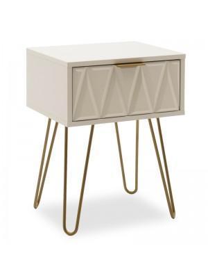 Нощно шкафче Isla в бял/златист цвят 42x35x55см