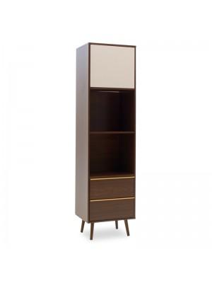 Рафт-библиотека Nastia в цвят тъмен орех/бял 48x39x182cm