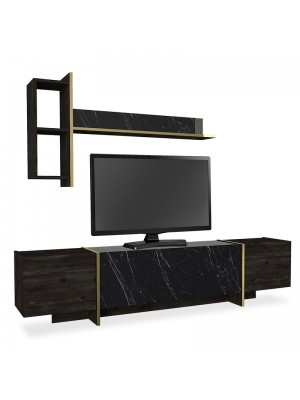 ТВ сет в мраморен черно-златист цвят 180x32,5x45cm