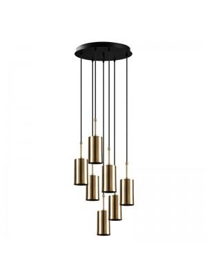 Полилей със 7 лампи цвят черен/златен D43x120cm