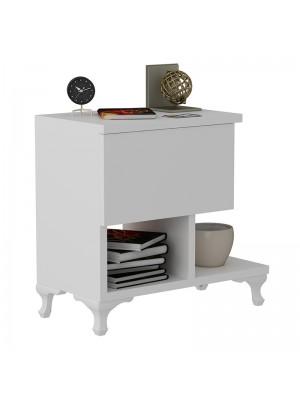 Бяло нощно шкафче 47x33x47cm