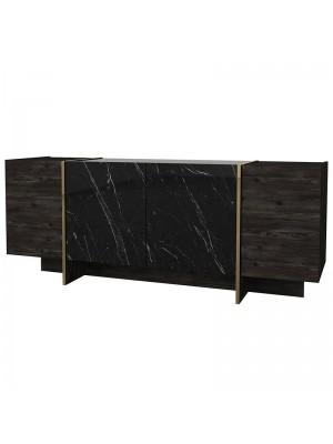 Черен меламинов шкаф със златни акценти 180x46,5x75,5cm