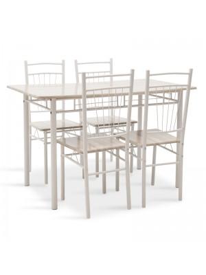Комплект маса с 4 стола  Roza цвят светлосив, крака от бял гланц 120x70x75cm
