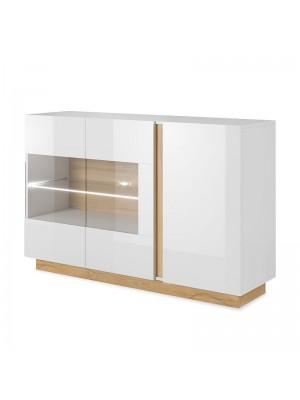 Шкаф Arco pakoworld в цвят бял гланц-орех 138x40x90,5cm