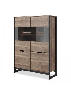 Витрина-Етажерка Arden pakoworld in dark walnut-dark grey color 109x40x150cm