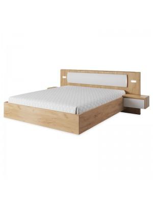 Спалня Xelo + led лента и нощни шкафчета в дъбово-бял гланцов цвят 160x200cm