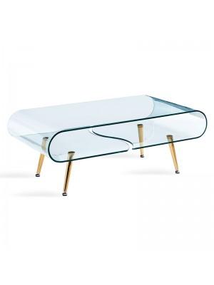 Стъклена холна маса Gusto със златни крака 120x60x45cm GLASS LINE