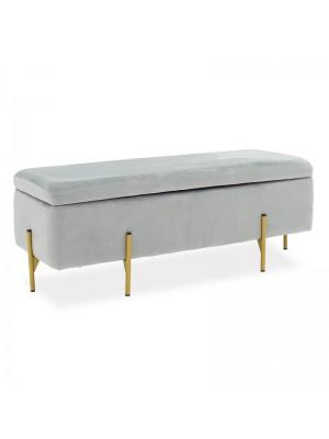Пейка-сандък Jax сива със златни метални крака 108x38x40cm