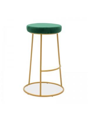 Бар стол Edem тъмно зелено кадифе със златиста матирана метална рамка