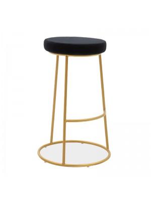 Бар стол Edem черно кадифе със златиста матирана метална рамка